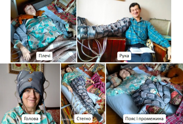 Процедуры пневмопрессинга плечей, руки, головы, ноги, поясницы